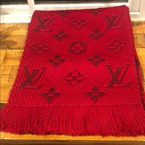 Red Louis Vuitton logomania scarf